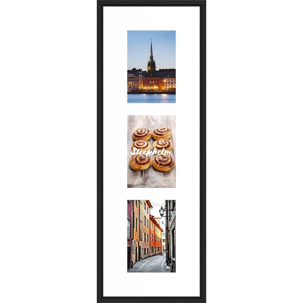 Collagelijst Zwart met passepartout -  3x 10x15 foto's