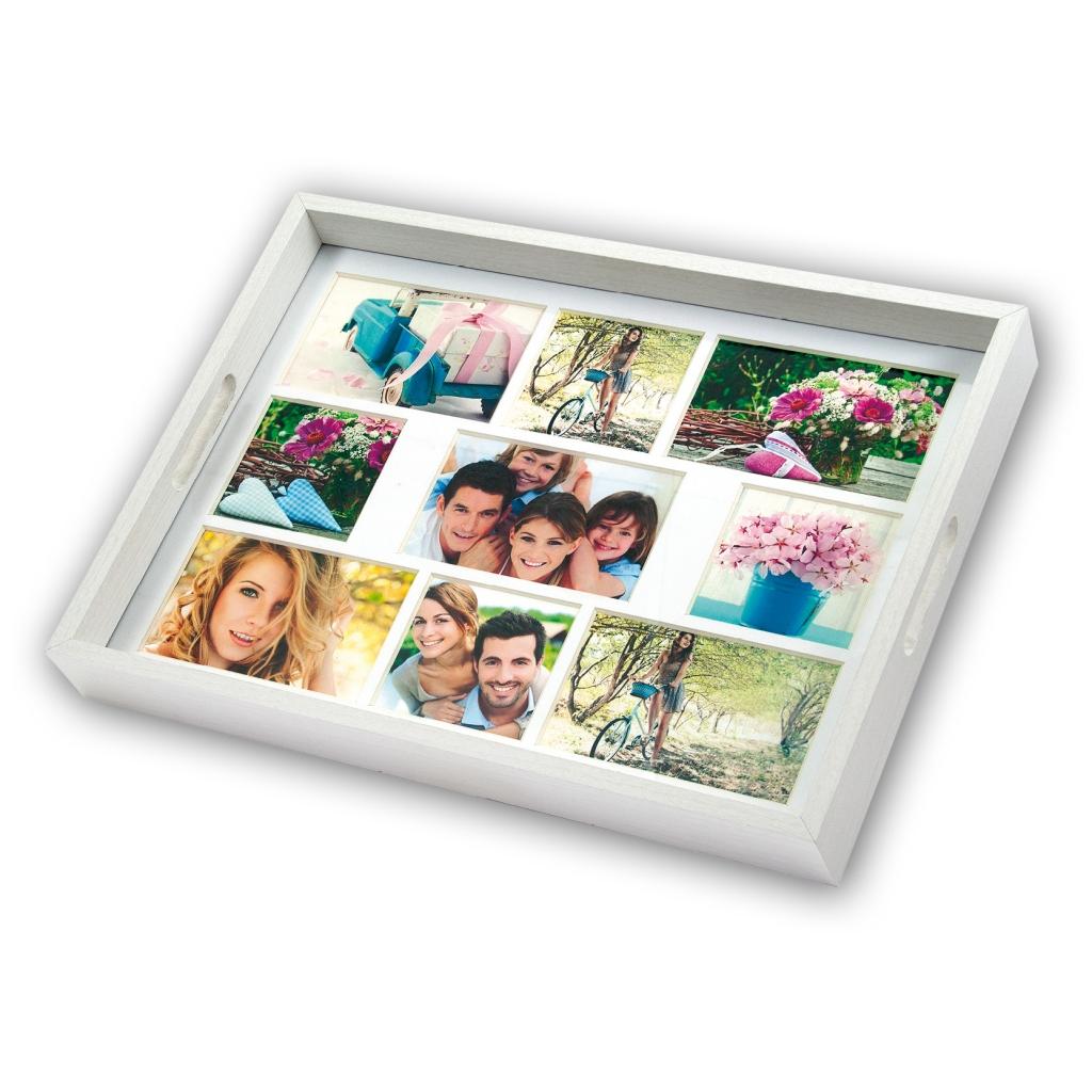 Collage fotolijst Dienblad Wit 5x 10x15 4x 10x10 foto