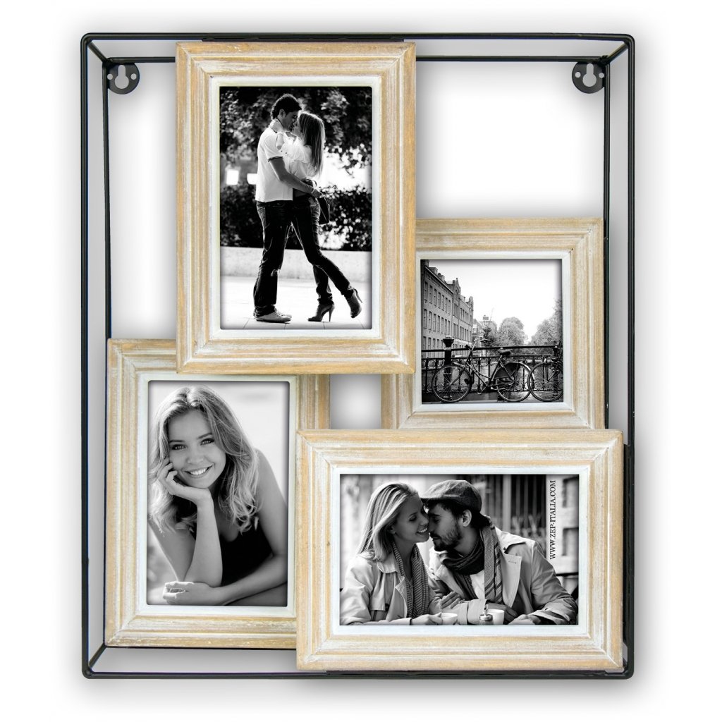 Hout/Metaal Collage fotolijst St. Gilles 1x 10x10 3x 10x15 foto