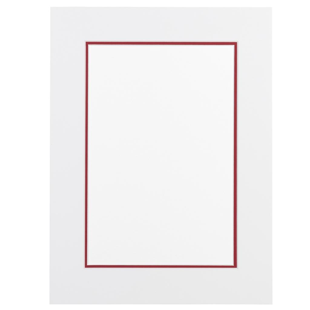 Wit en Ferrari rood  Dubbel Passepartout met witte kern