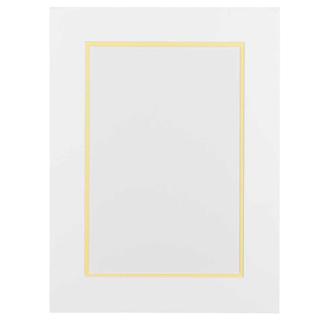 Wit en Citroengeel Dubbel Passepartout met witte kern