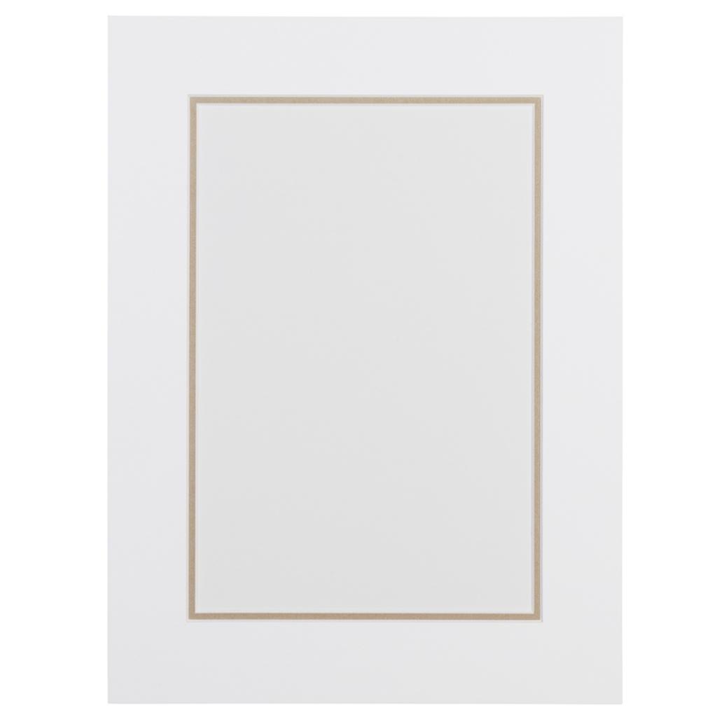 Wit en zandkleur Dubbel Passepartout met witte kern