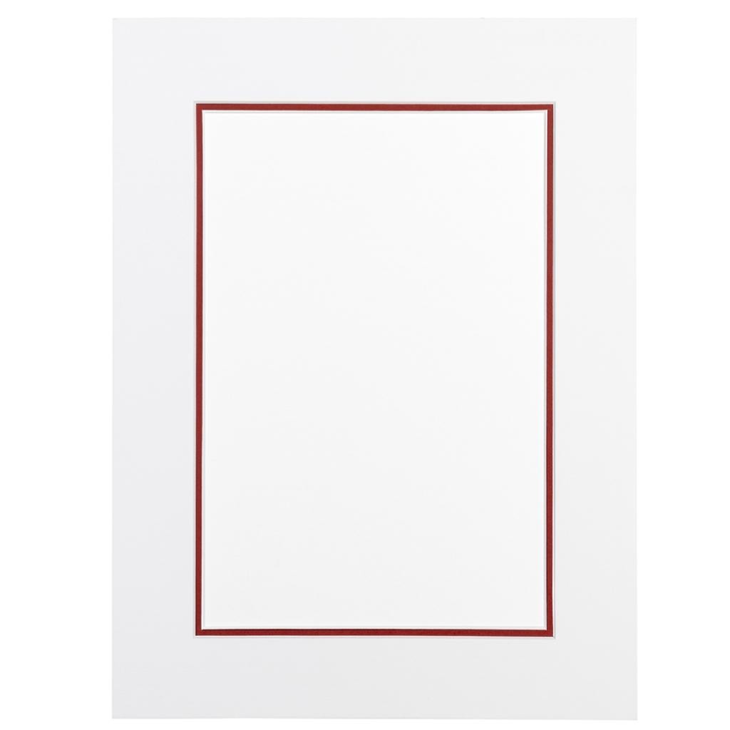 Gebroken wit en roodbruin Dubbel Passepartout met witte kern