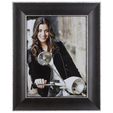 Donkerbruine fotolijst met zilver randje, 34mm breed