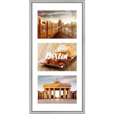 Collagelijst Zilver met passepartout - 3x 13x18 foto's