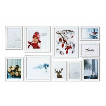 Fotolijsten set 10-delig strak wit 4x 10x15 3x 13x18 2x 20x20 1x 20x25